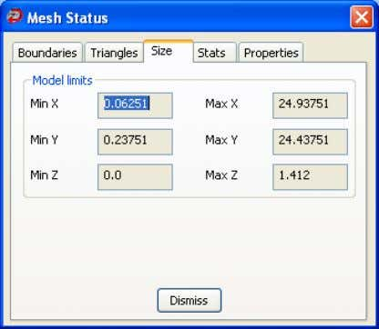 to display information about the size of the selected mesh. Min X , Max X ,