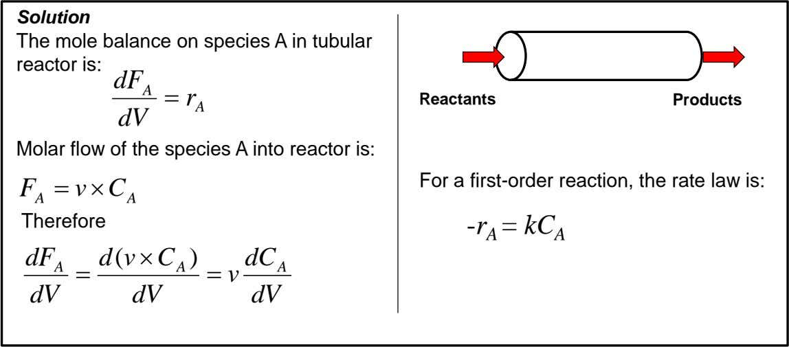 Solution The mole balance on species A in tubular reactor is: dF A  r