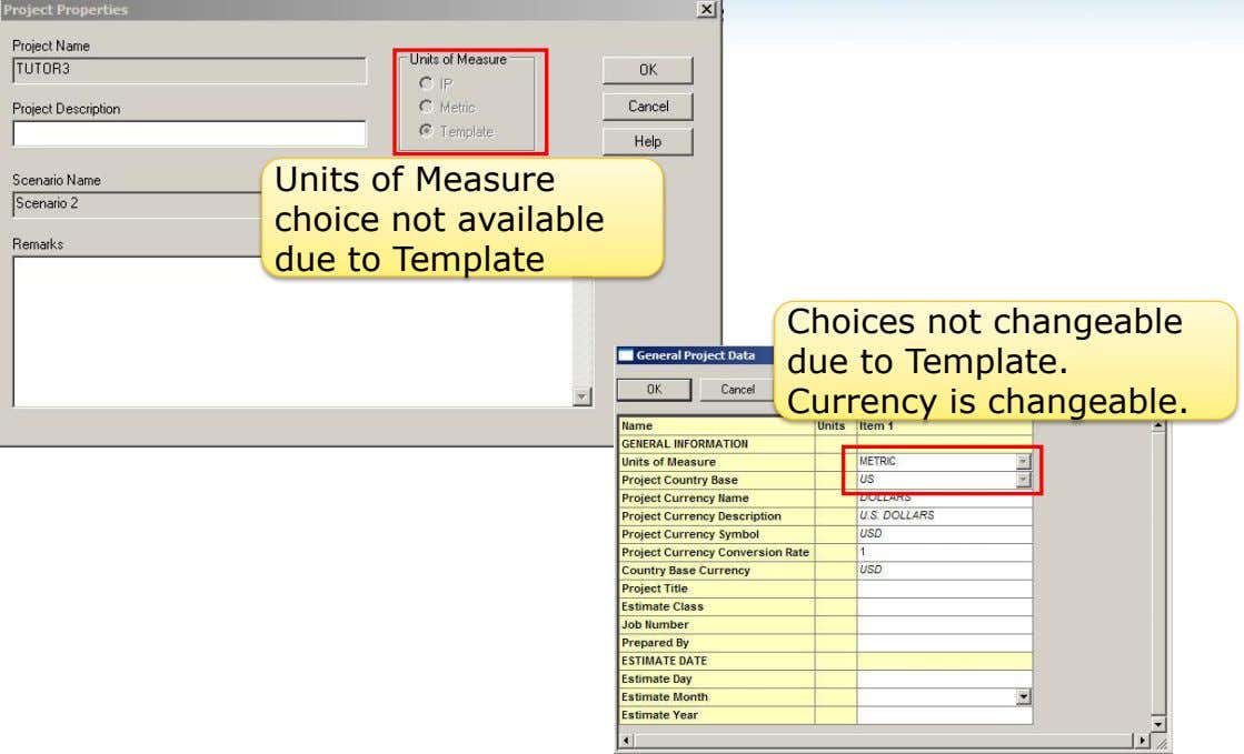 Units of Measure choice not available due to Template Choices not changeable due to Template.