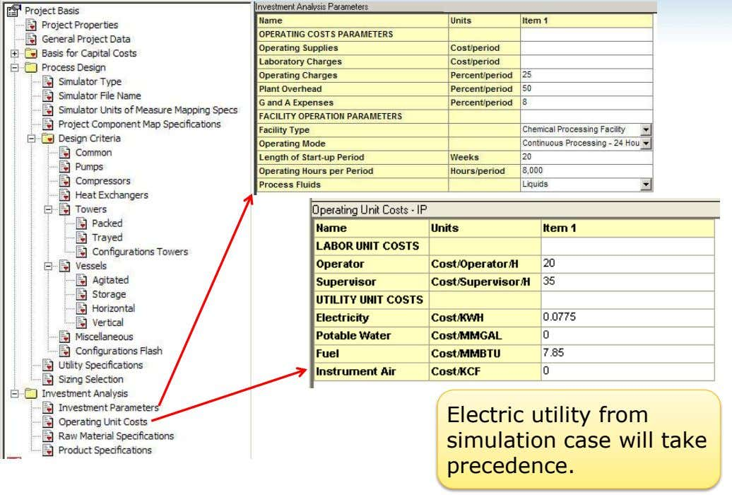 Electric utility from simulation case will take precedence.