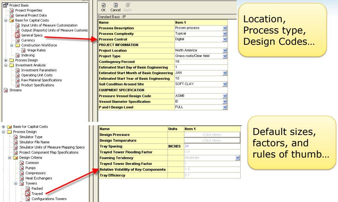 Location, Process type, Design Codes… Default sizes, factors, and rules of thumb…