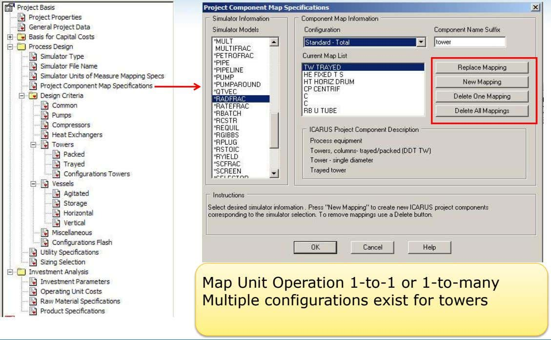 Map Unit Operation 1-to-1 or 1-to-many Multiple configurations exist for towers