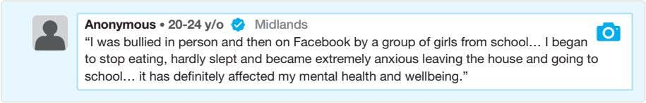 "Anonymous • 20-24 y/o Midlands ""I was bullied in person and then on Facebook by"