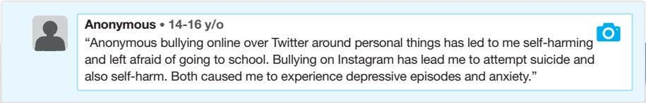 "Anonymous • 14-16 y/o ""Anonymous bullying online over Twitter around personal things has led to"