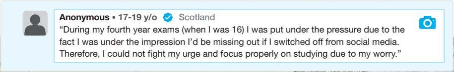 "Anonymous • 17-19 y/o Scotland ""During my fourth year exams (when I was 16) I"