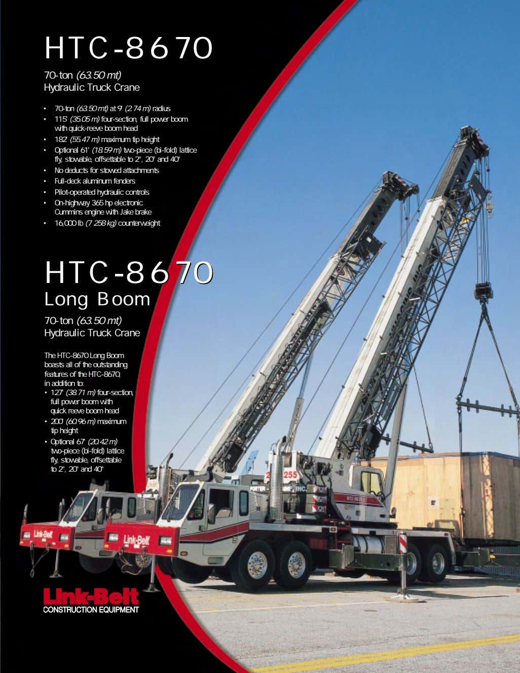 HTC-8670 70-ton (63.50 mt) Hydraulic Truck Crane • 70-ton (63.50 mt) at 9' (2.74 m)