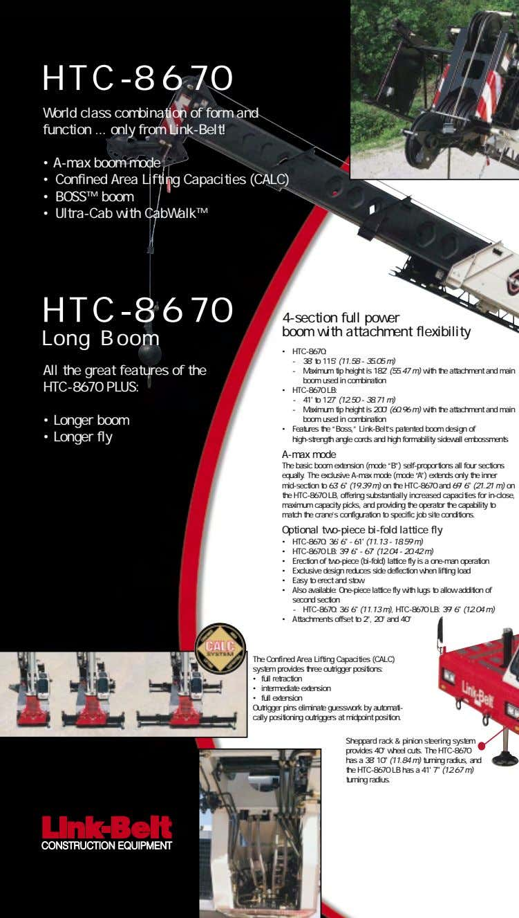HTC-8670 World class combination of form and function only from Link-Belt! • A-max boom mode