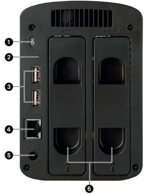 9 Iomega StorCenter ix2-200 1. SecurityLock: Connect a securitycabletoprevent theft. 2. Reset Button: Press theRESET