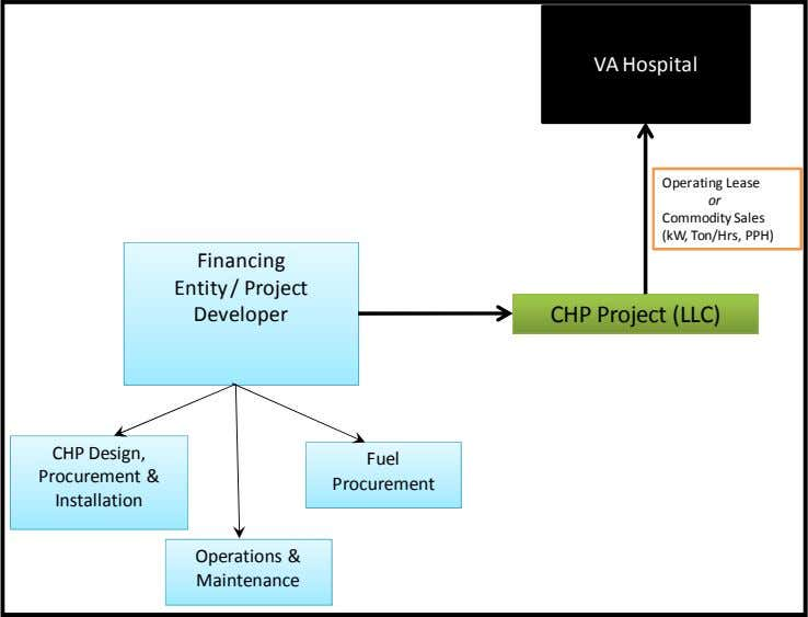 VA Hospital Operating Lease or Commodity Sales (kW, Ton/Hrs, PPH) Financing Entity / Project Developer CHP