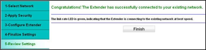 the check box to confirm that you have connected to the extender network. 10. Click Continue