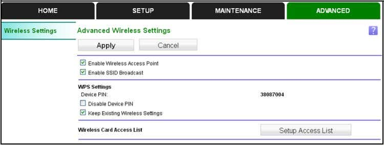 or change the advanced wireless settings: Select Advanced . You can view or change the following