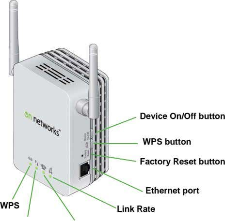 Device On/Off button WPS button Factory Reset button Ethernet port WPS Link Rate