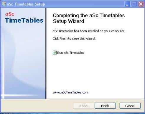 the aSc Timetables Setup Wizard. Klik tombol Finish g. Registrasi aSc Timetables 2008. Klik help, kemudian