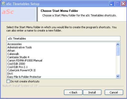 Kotak dialog Choose Start Menu Folder. Klik tombol Install f. Kotak dialog Completing the aSc Timetables