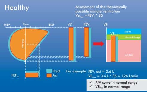 Healthy Assessment of the theoretically possible minute ventilation Ve =FEV * 35 theo 1 INSP