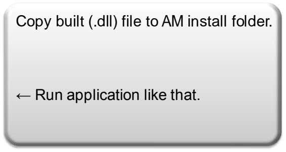 Copy built (.dll) file to AM install folder. ← Run application like that.