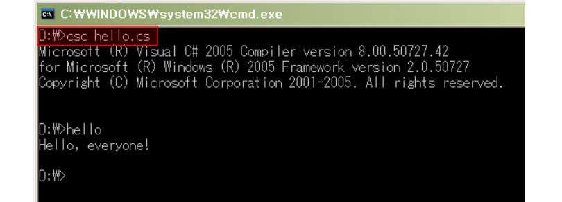 "\ Framework \ v2.0.xxxx"" have to set in path. - csc.exe is compile application for making"