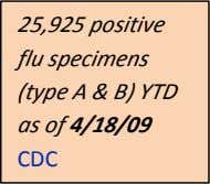 25,925 positive flu specimens (type A & B) YTD as of 4/18/09 CDC