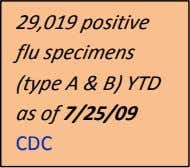 29,019 positive flu specimens (type A & B) YTD as of 7/25/09 CDC