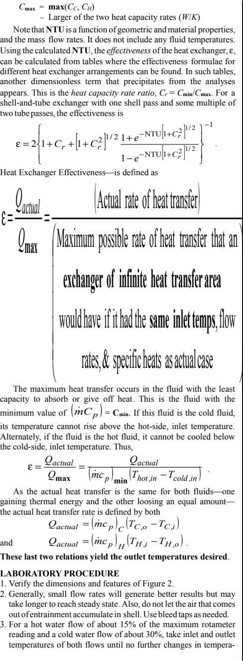 C max = max(C C , C H ) – Larger of the two heat capacity