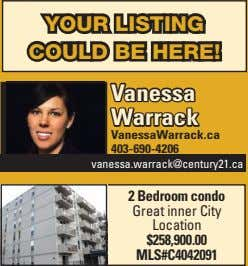 YOUR LISTING COULD BE HERE! Vanessa Warrack VanessaWarrack.ca 403-690-4206 vanessa.warrack@century21.ca 2 Bedroom