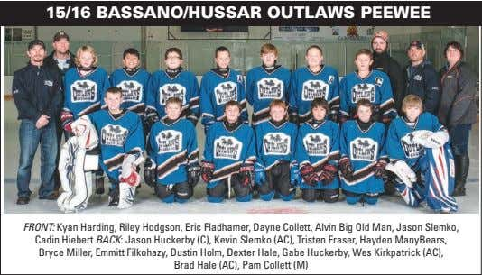 15/16 BASSANO/HUSSAR OUTLAWS PEEWEE FRONT: Kyan Harding, Riley Hodgson, Eric Fladhamer, Dayne Collett, Alvin Big