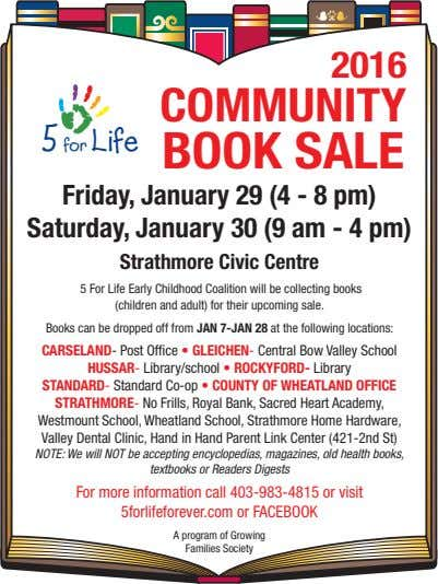 2016 5 for Life COMMUNITY BOOK SALE Friday, January 29 (4 - 8 pm) Saturday,
