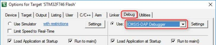 using is selected and enabled. For example, CMSIS-DAP Debugger is a debug adapter that is part