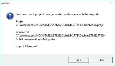 Code to create a GPDSC file. µVision will notify you: Click Yes to import the project.
