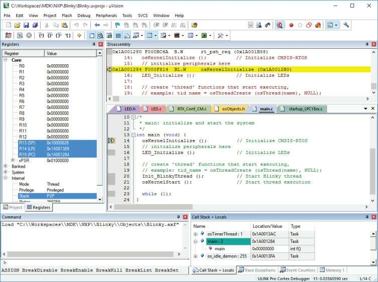 From the toolbar, select Start/Stop Debug Session . During the start of a debugging session, µVision