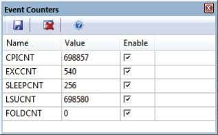 Event Counters From menu View – Trace – Event Counters To retrieve data in this window: