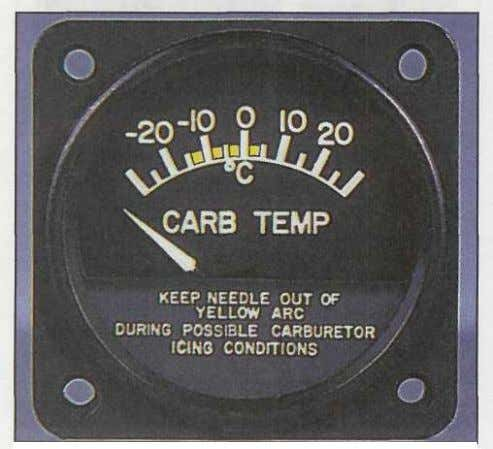 after shutdown, the fuel selector valve and throttle Figure 2-2. The carburetor air temperature gauge depicted