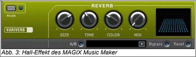 Abb. 3: Hall-Effekt des MAGIX Music Maker
