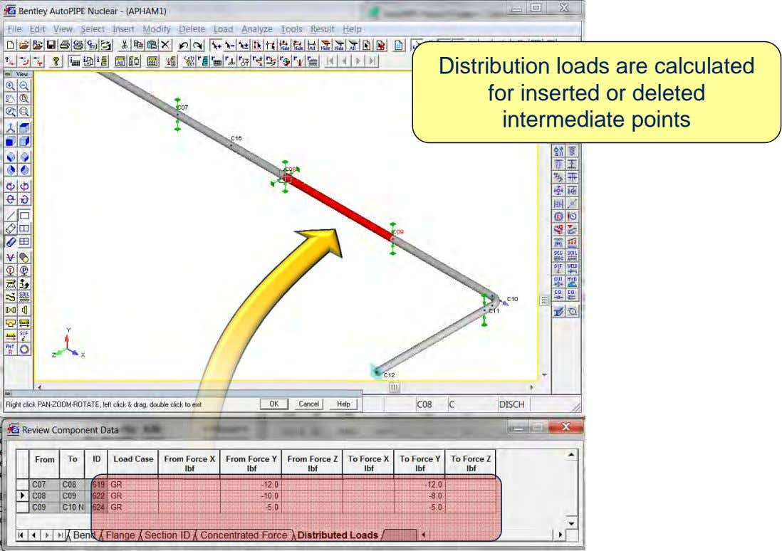 Distribution loads are calculated for inserted or deleted intermediate points