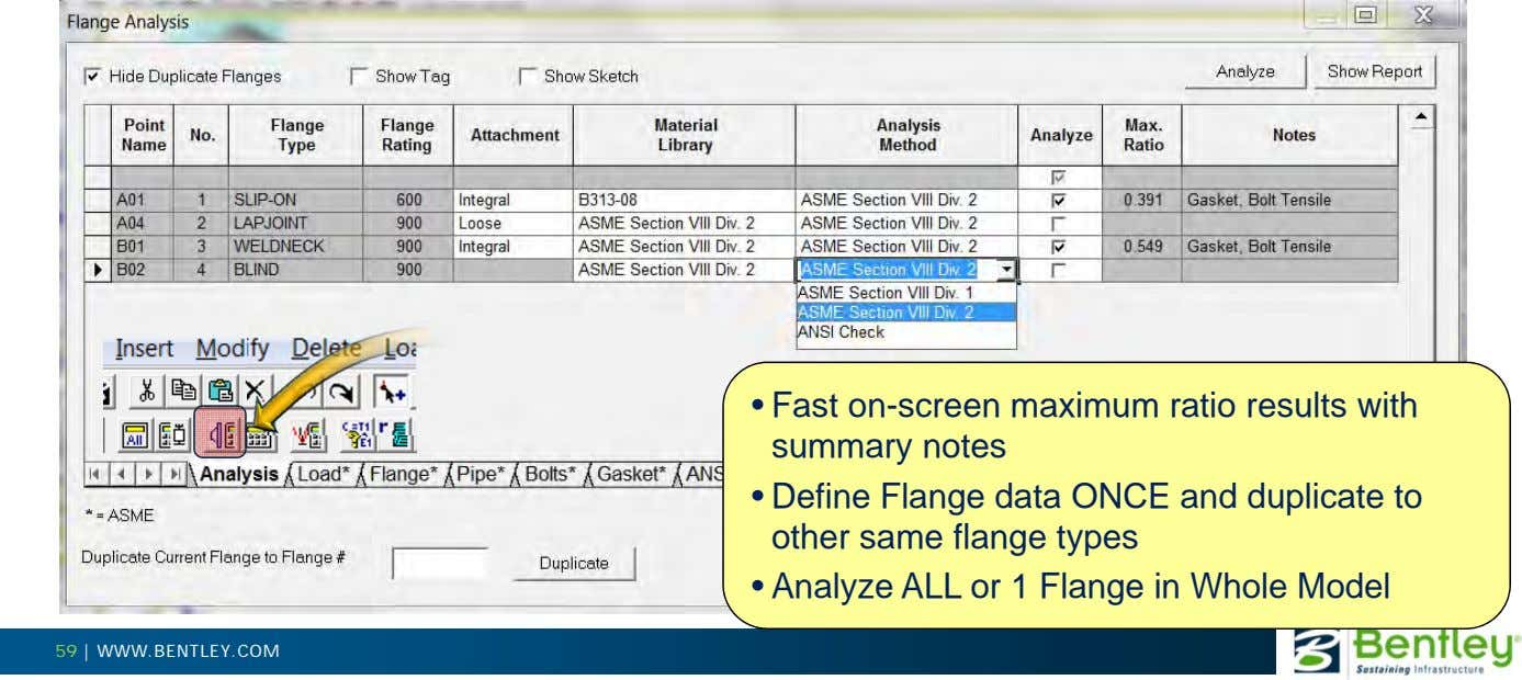 • Fast on-screen maximum ratio results with summary notes • Define Flange data ONCE and