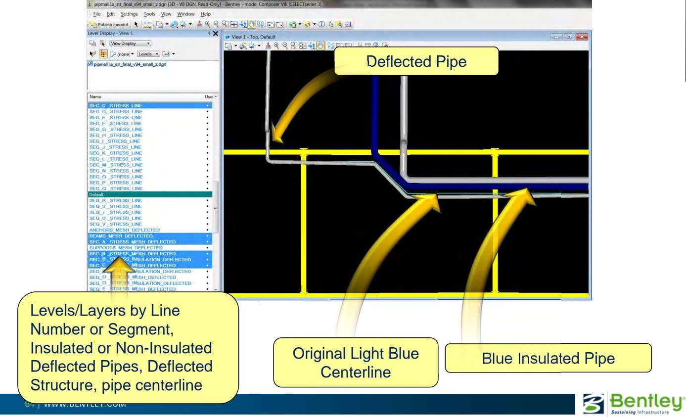 Deflected Pipe Levels/Layers by Line Number or Segment, Insulated or Non-Insulated Deflected Pipes, Deflected