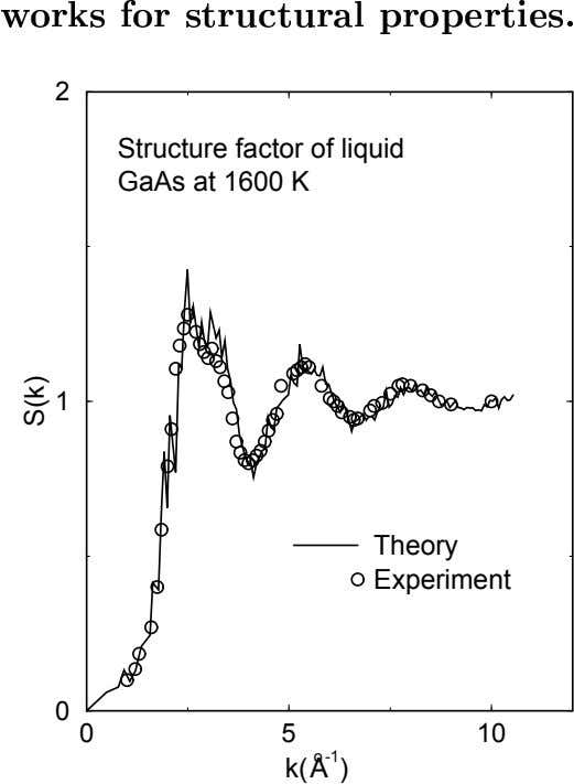 2 Structure factor of liquid GaAs at 1600 K 1 Theory Experiment 0 0 5