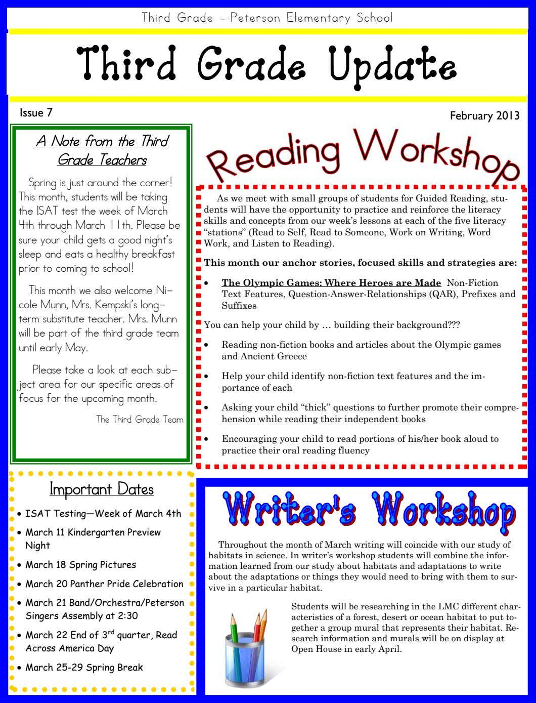 Third Grade —Peterson Elementary School Third Grade Update Issue 7 February 2013 A Note from