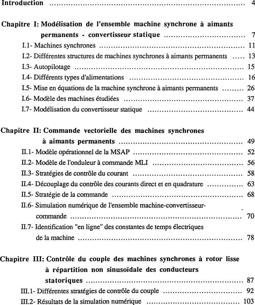 Introduction 4 Chapitre I: Modélisation de l'ensemble machine synchrone à aimants permanents - convertisseur