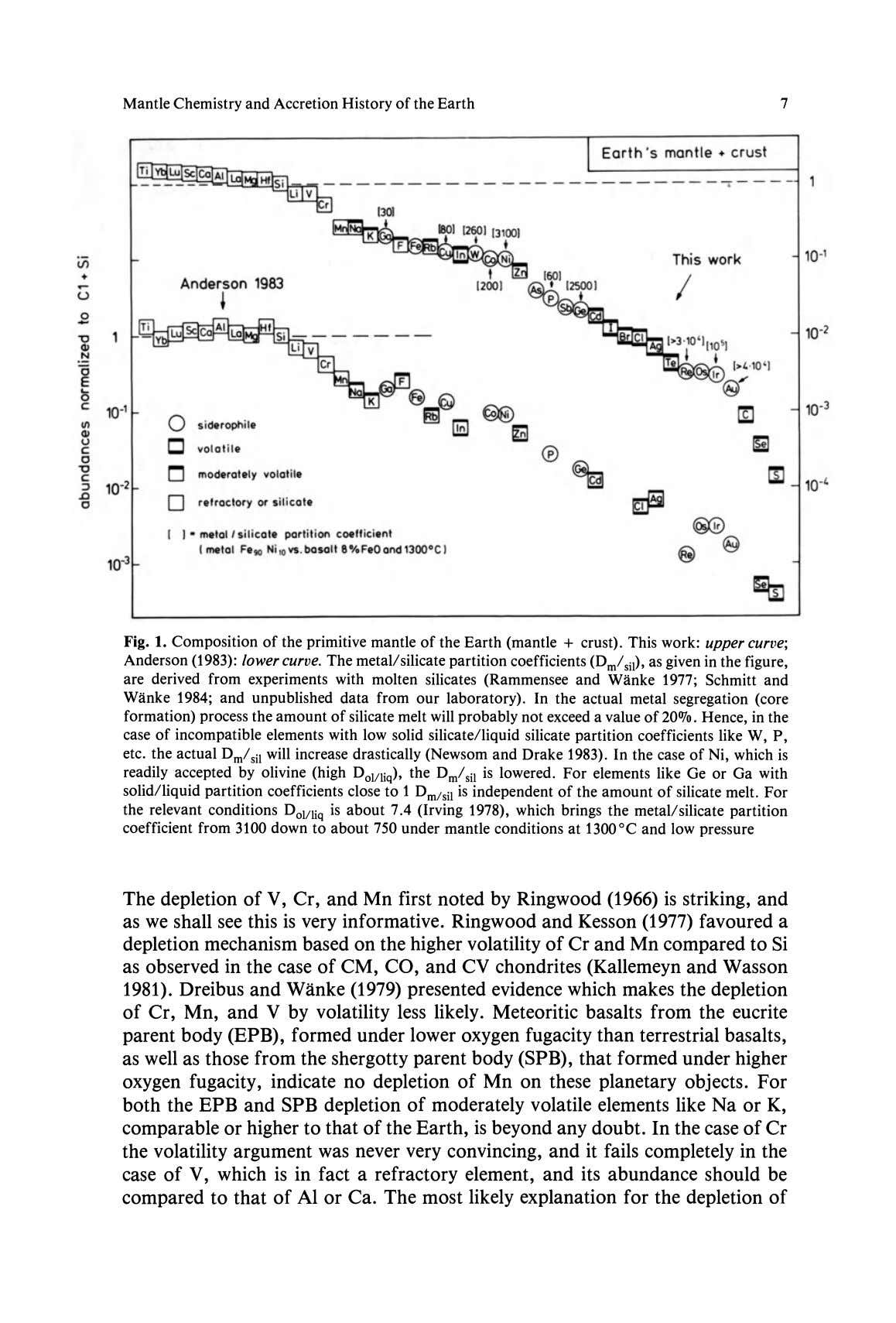 Mantle Chemistry and Accretion History of the Earth 7 Earth 's man tl e. cr u