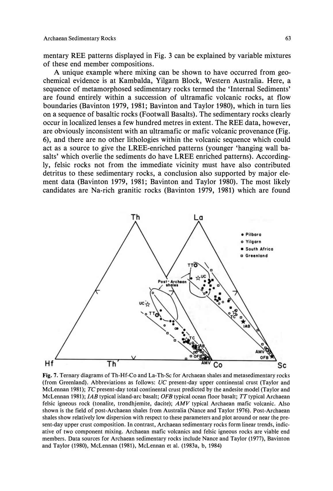 Archaean Sedimentary Rocks 63 mentary REE patterns displayed in Fig. 3 can be explained by variable