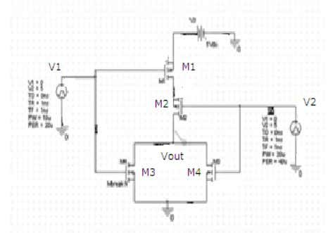 HIGH) Vout=0V(Logic LOW) H. CMOS NOR gate realization: Table 2. Operating regions of the transistors: