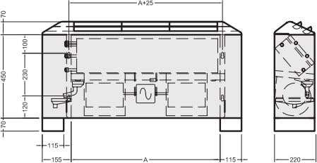 Drawings and dimensions Type F E F F Type FE (vertical unit with cabinet) Type FF