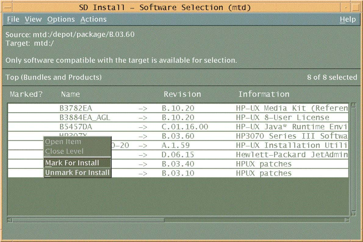 Using Swinstall to Install HP-UX Software Packages Figure 3 The 'Software Selection' window -- Right-click and