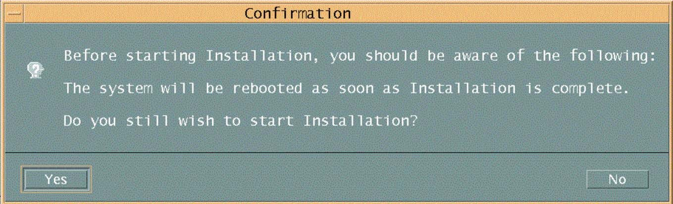 Using Swinstall to Install HP-UX Software Packages Figure 8 A 'Confirmation' dialog box indicating a reboot