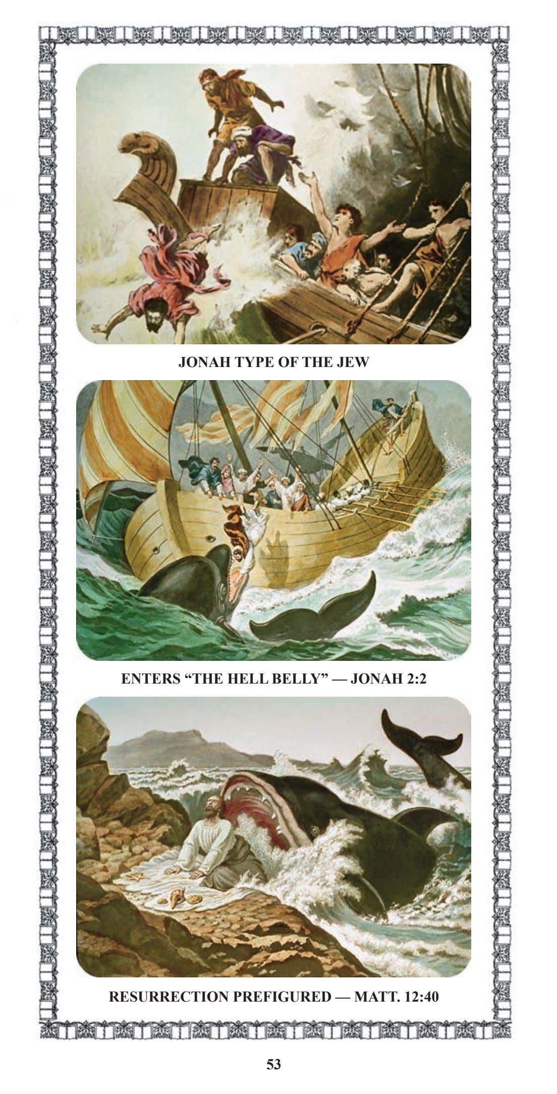 "JONAH TYPE OF THE JEW ENTERS ""THE HELL BELLY"" — JONAH 2:2 RESURRECTION PREFIGURED —"