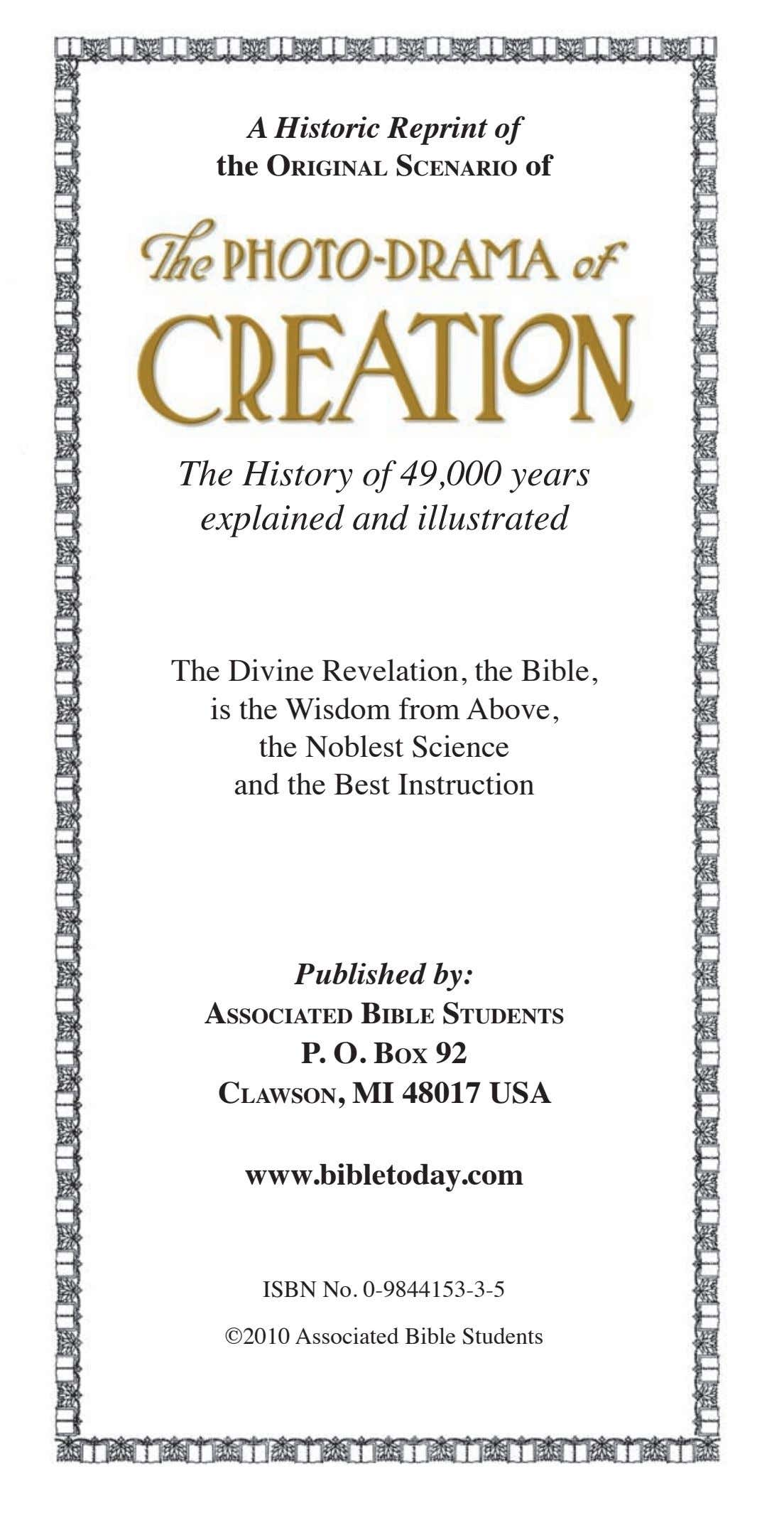 A Historic Reprint of the Original ScenariO of The History of 49,000 years explained and
