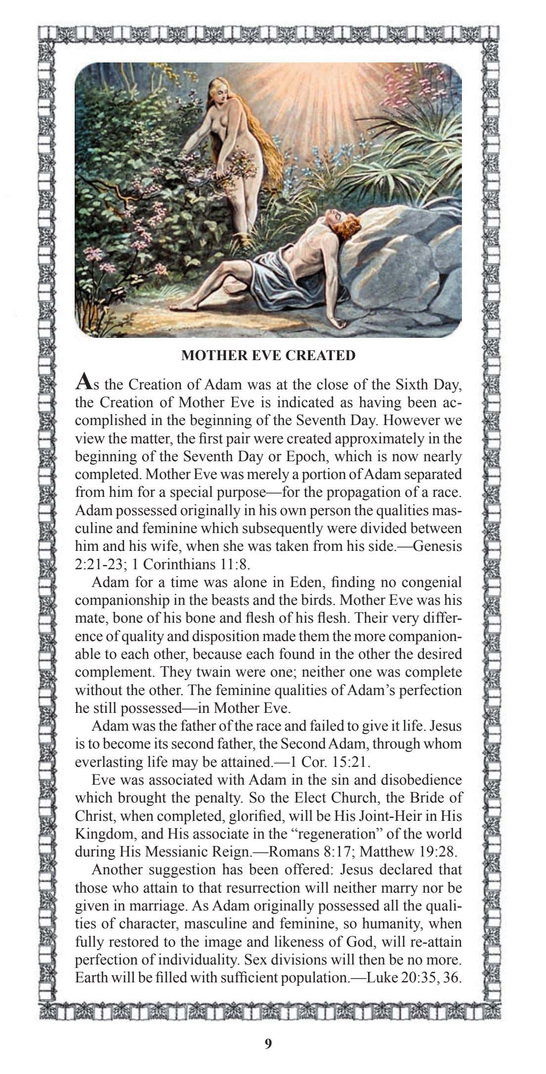 MOTHER EVE CREATED As the Creation of Adam was at the close of the Sixth