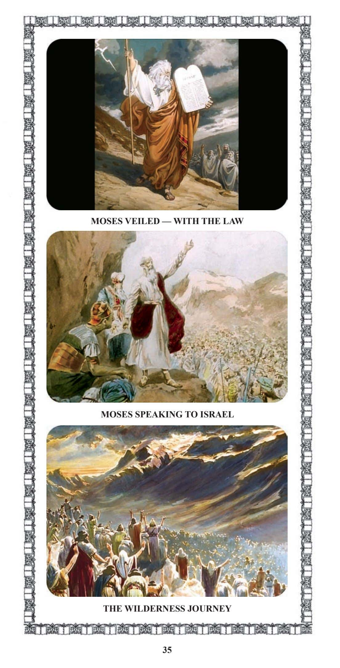 MOSES VEILED — WITH THE LAW MOSES SPEAKING TO ISRAEL THE WILDERNESS JOURNEY 35