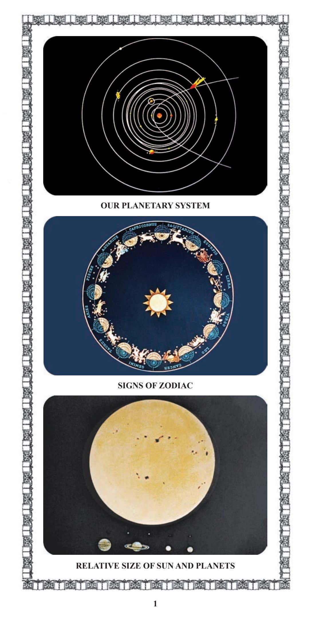OUR PLANETARY SYSTEM SIGNS OF ZODIAC RELATIVE SIZE OF SUN AND PLANETS 1